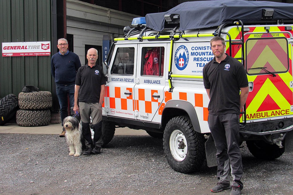 Coniston MRT's vehicle officers Scott Durrant, right and Dick Palmer with Andrew Hodgkinson of Roadrunner Tyres, left.