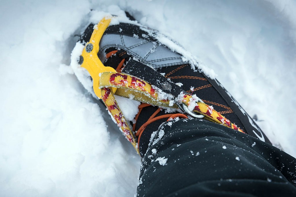 Crampons may be needed in full-on winter conditions. Photo: Bob Smith/grough
