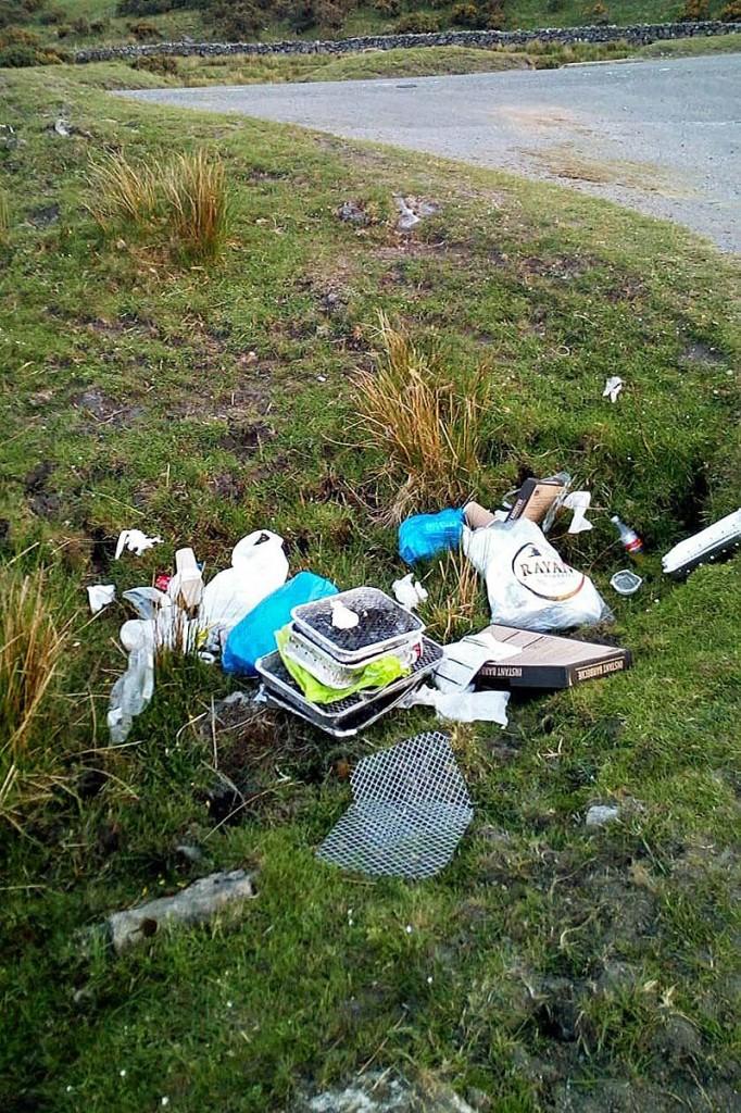 Rubbish left by visitors to Dartmoor. Photo: Dartmoor NPA