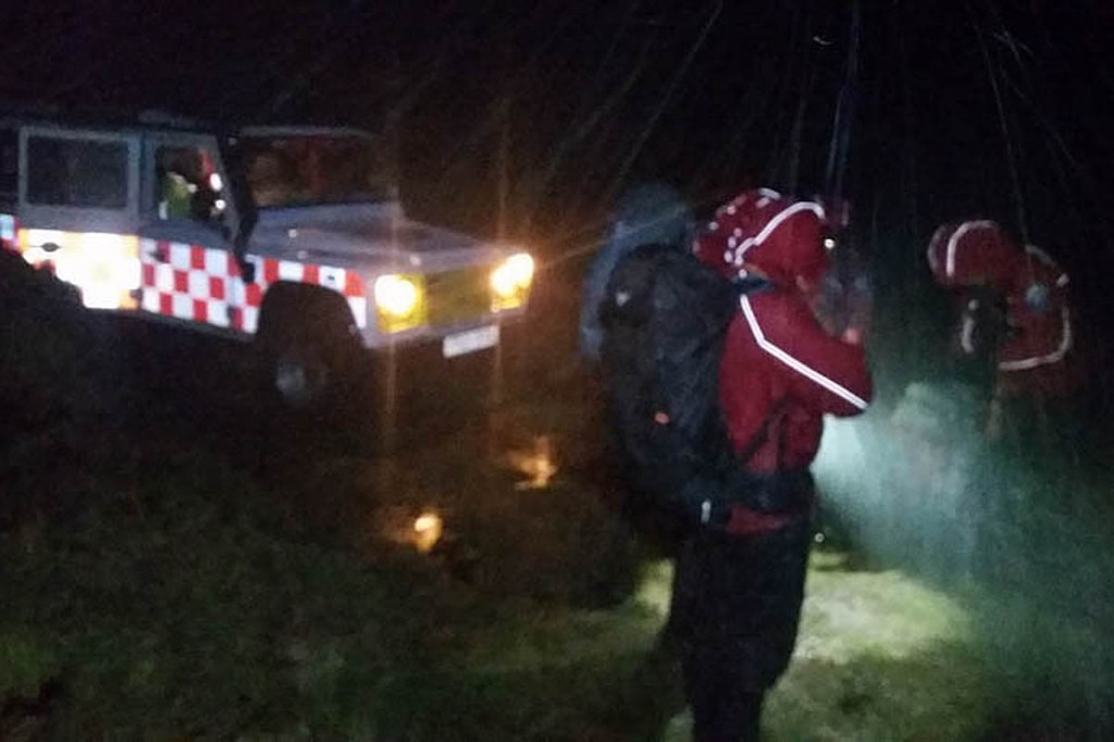 Rescuers faced driving rain and squally winds. Photo: DSRT Ashburton