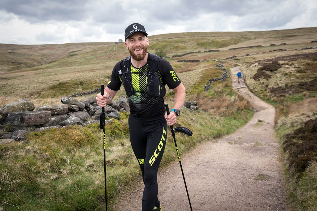 Dave Stevens runs along the Pennine Way as it crosses the Brontë moors. Photo: Bob Smith/grough