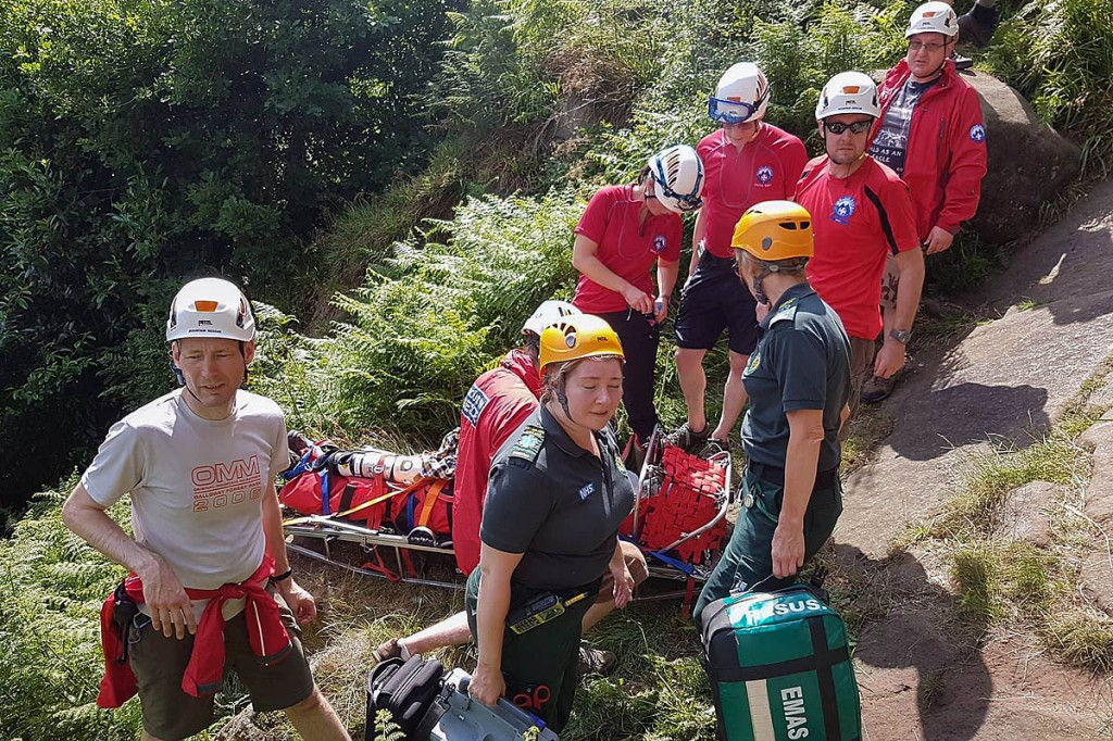 Rescuers and paramedics at the scene at Cratcliffe. Photo: Derby MRT