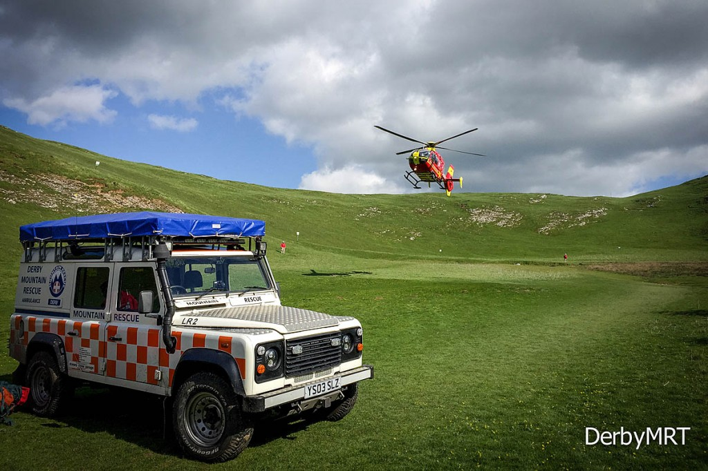 Derby Mountain Rescue Team was joined in the operation by the Midland Air Ambulance. Photo: Derby MRT