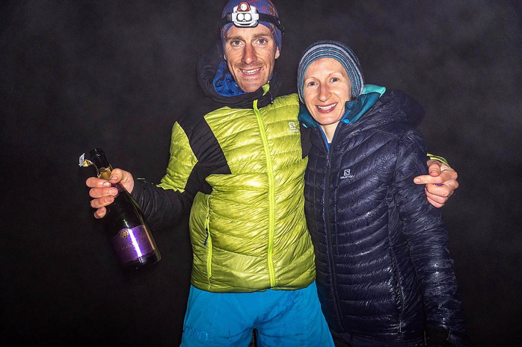 Campbell celebrates on Ben Hope with his wife Rachael