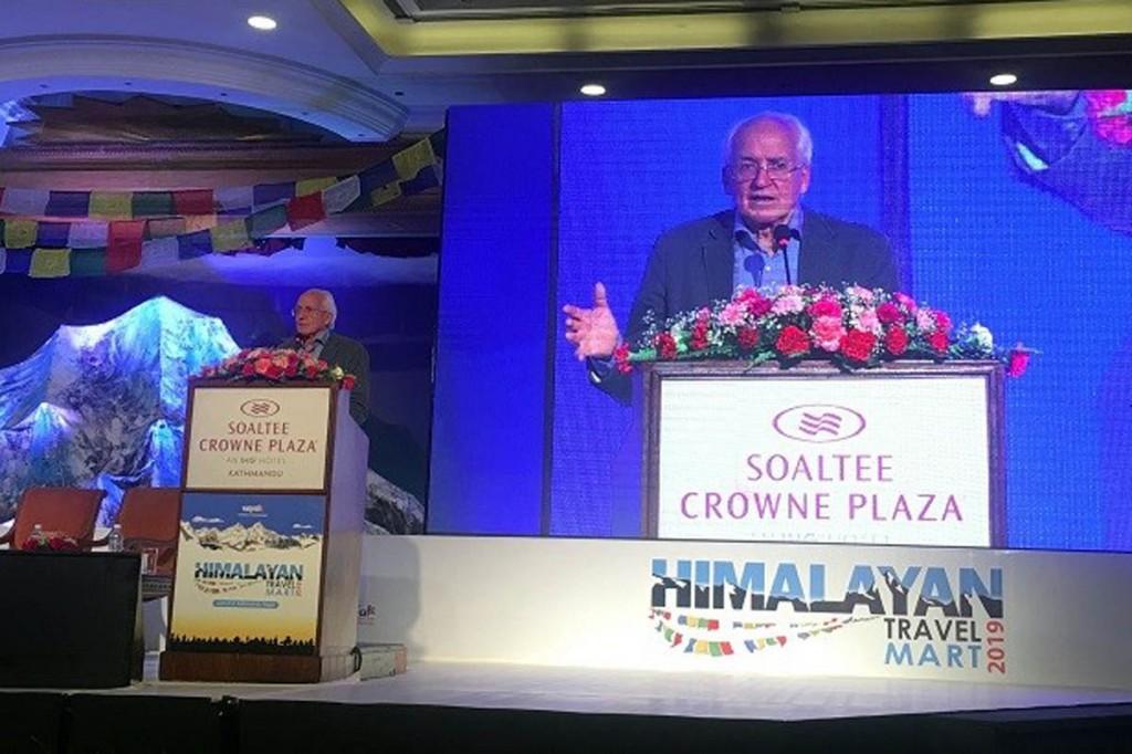 Doug Scott addresses the Kathmandu gathering. Photo: Claire Souch