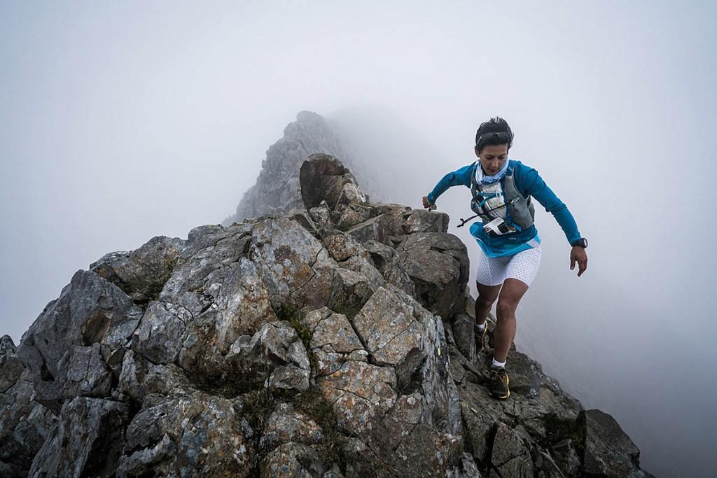 Sarbrina Verjee traverses Crib Goch on the first day. Photo: Ian Corless