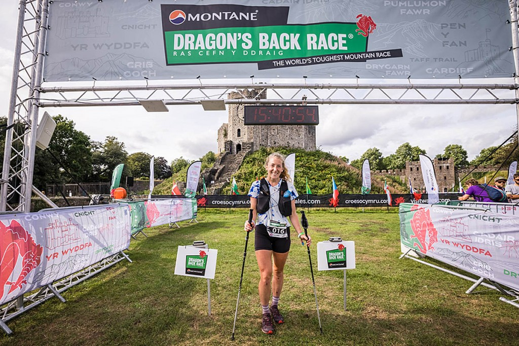 First woman Katie Mills arrives at Cardiff Castle. Photo: No Limits Photography