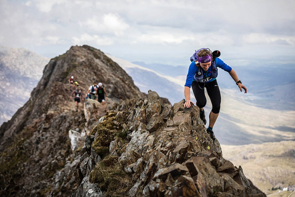 Lisa Wilson traverses Crib Goch during this year's Berghaus Dragon's Back. Photo: No Limits Photography