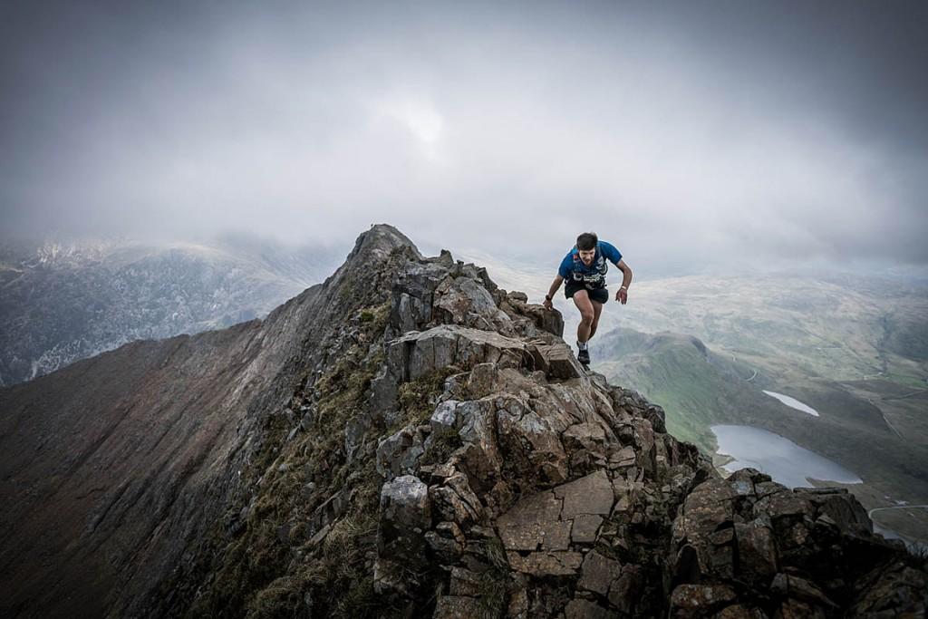 Neil Talbott traverses Crib Goch on the Snowdon range during the 2017 event. Photo: Ian Corless