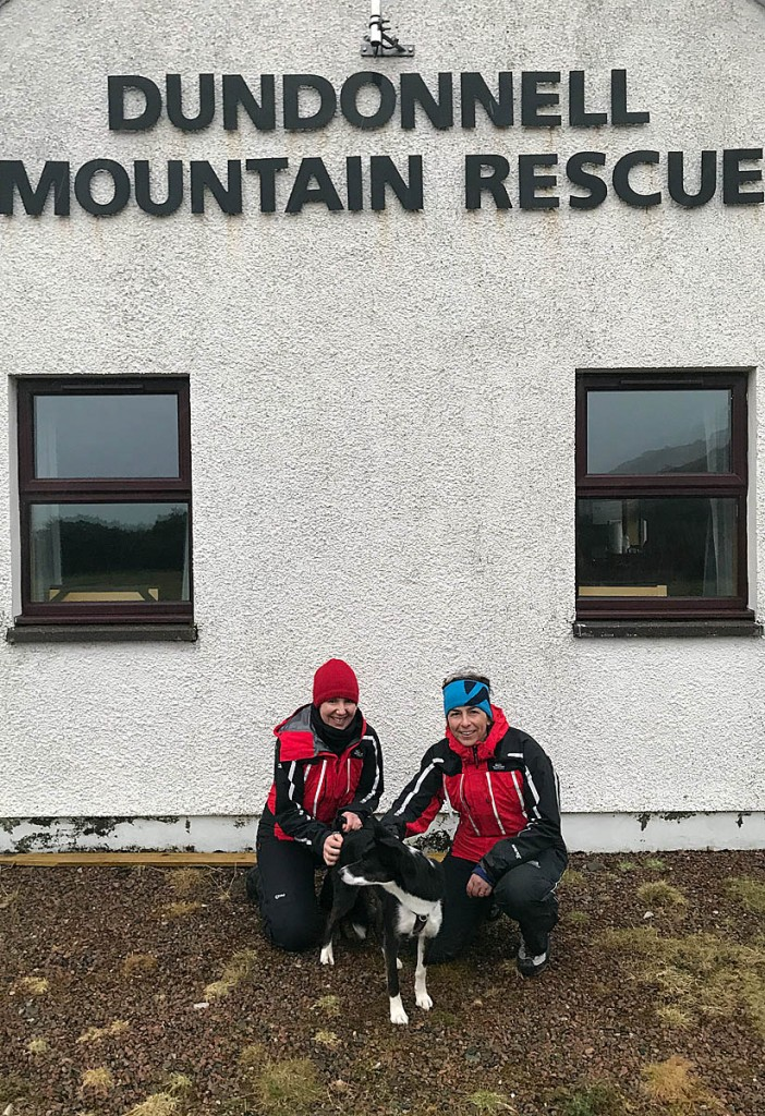 The two rescuers with Nell,, safely back at base. Photo: Alison Smith