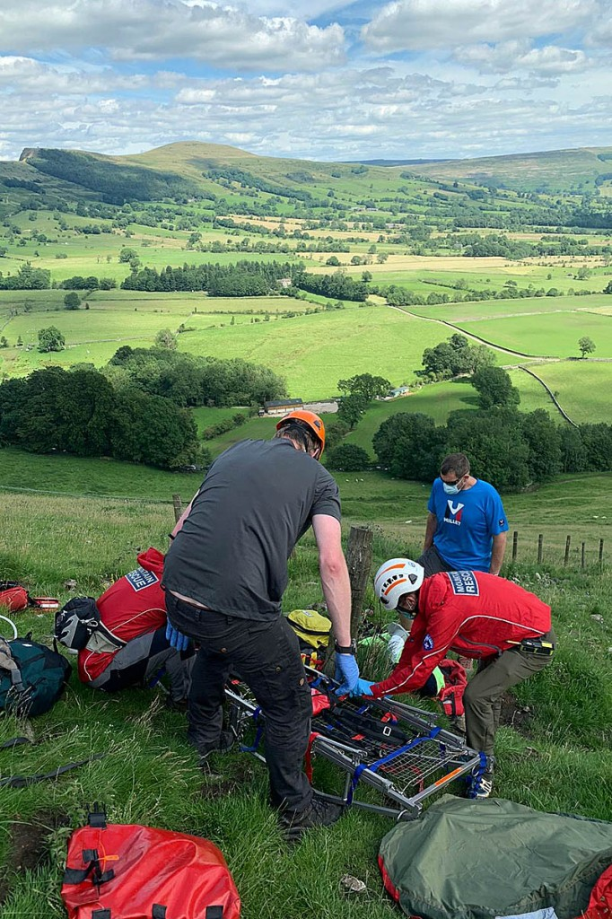Team members in action during one of the five callouts. Photo: Edale MRT
