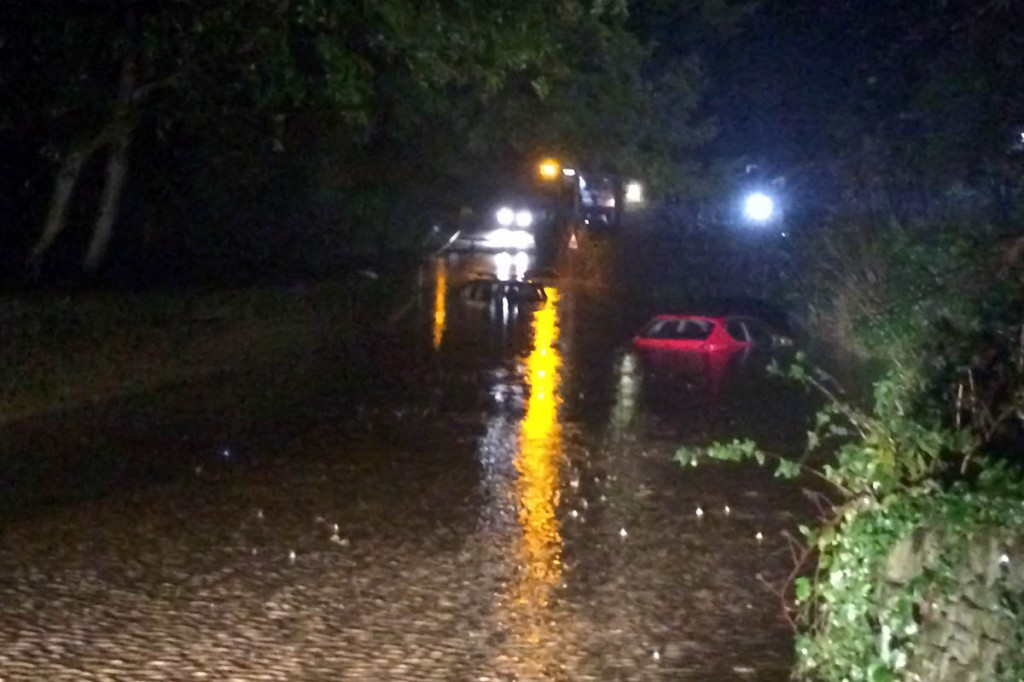 The scene during the flood at Hathersage. Photo: Edale MRT