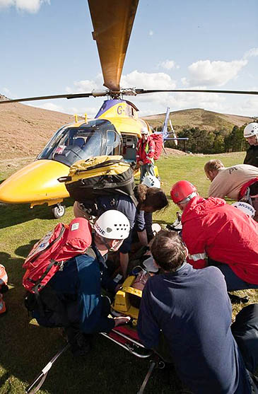 The team undertakes regular rescues where casualties are airlifted to hospital. Photo: Edale MRT