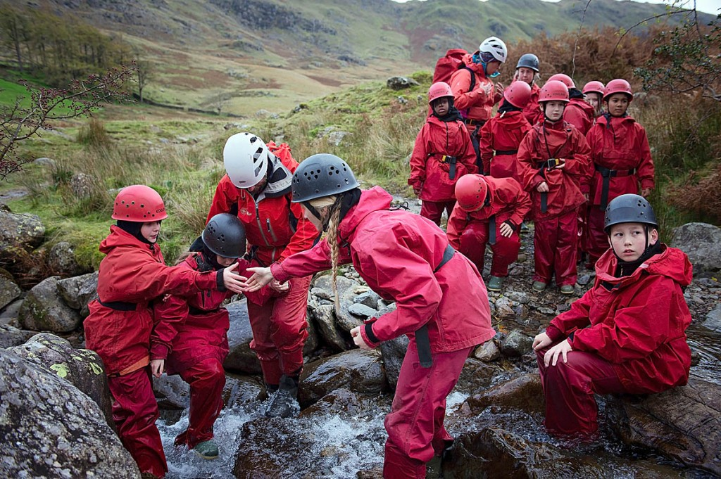 Children from Harris Primary School enjoy their gorge scramble with Amber Brown