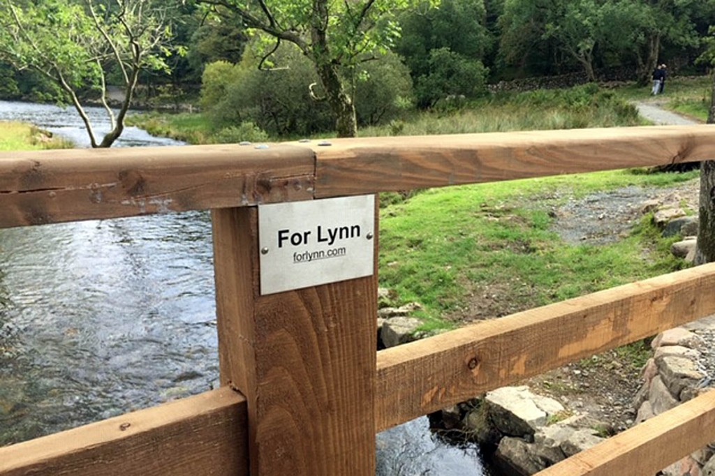 A plaque in memory of Lynn on the bridge
