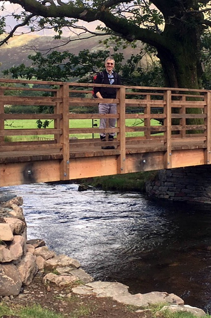 Simon Smith on the restored bridge at Buttermere Dubs