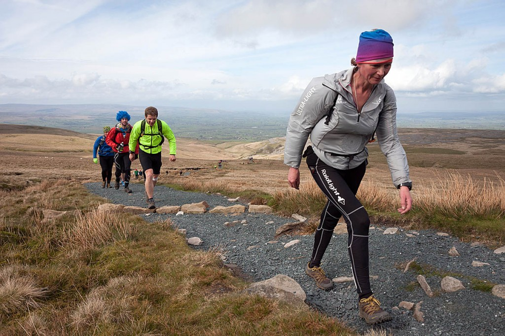 Nicky Spinks and other competitors make the ascent of Ingleborough during the 2021 event. Photo: Bob Smith/grough