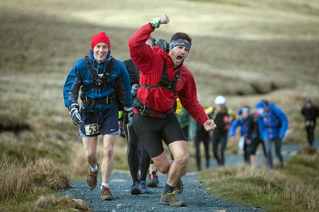 Competitors make the ascent of Ingleborough during the 2012 Fellsman. Photo: Bob Smith/grough