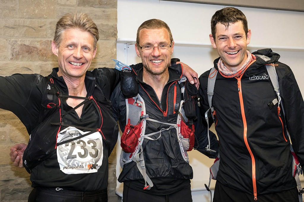 Fellsman runners-up, from left, Simon Bourne, Stewart Bellamy and Kevin Hoult. Photo: Bob Smith/grough