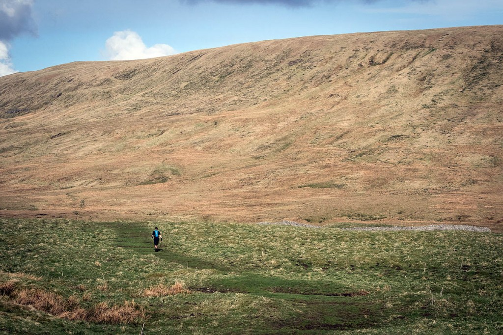 Neil Talbott starts his ascent of the final fell, Great Whernside. Photo: Bob Smith/grough