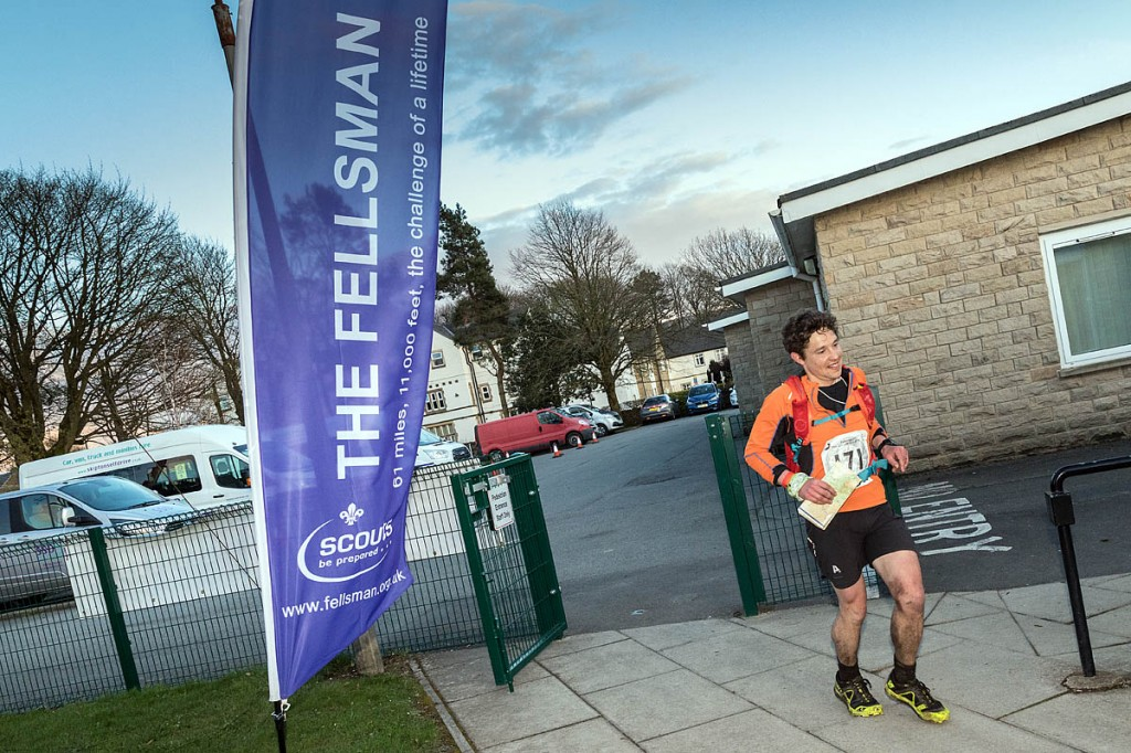 Stuart Walker arrives at the Fellsman finish in Threshfield. Photo: Bob Smith/grough