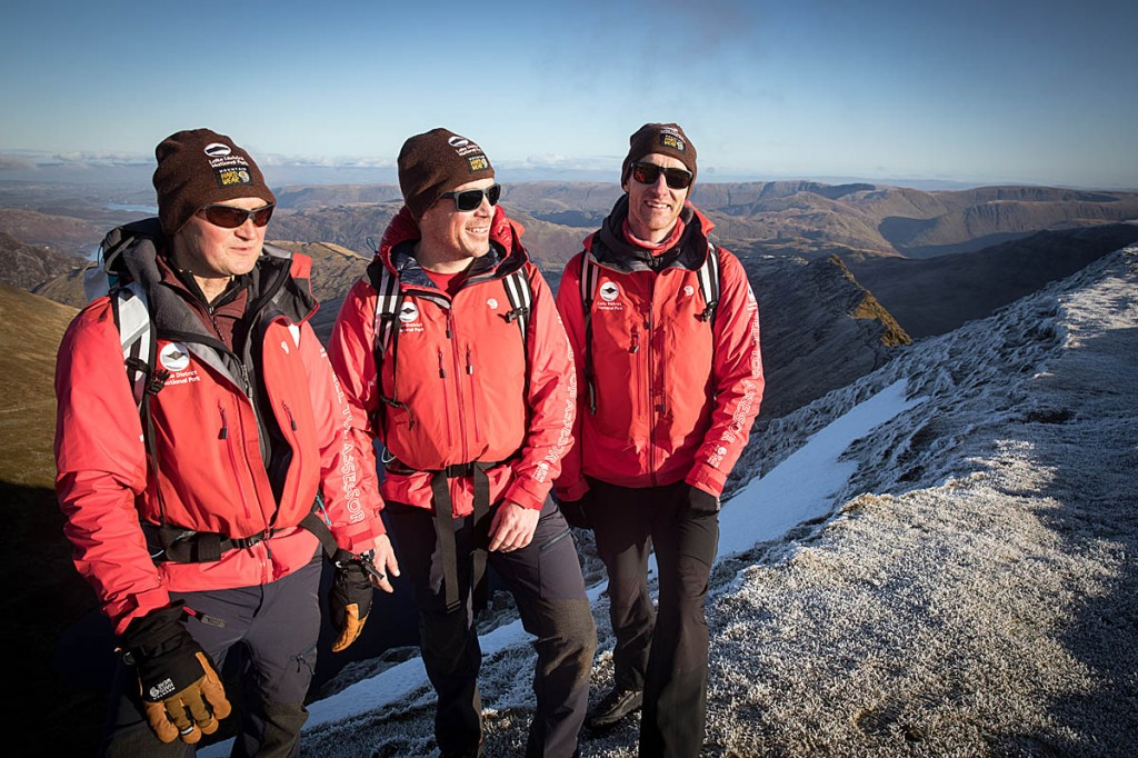 Men in red: the felltop assessors, from left, Jon Bennett, Zac Poulton and Wes Hunter. Photo: Bob Smith/grough