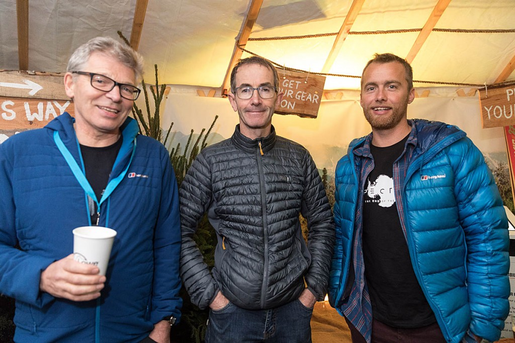 Mick Fowler enjoys a festival beer with Leo Houlding, right, and Andy Cave. Photo: Bob Smith/grough