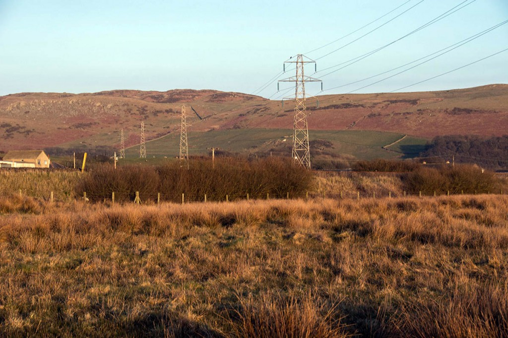 Existing pylons in the Whicham Valley near Black Combe. Photo: Friends of the Lake District
