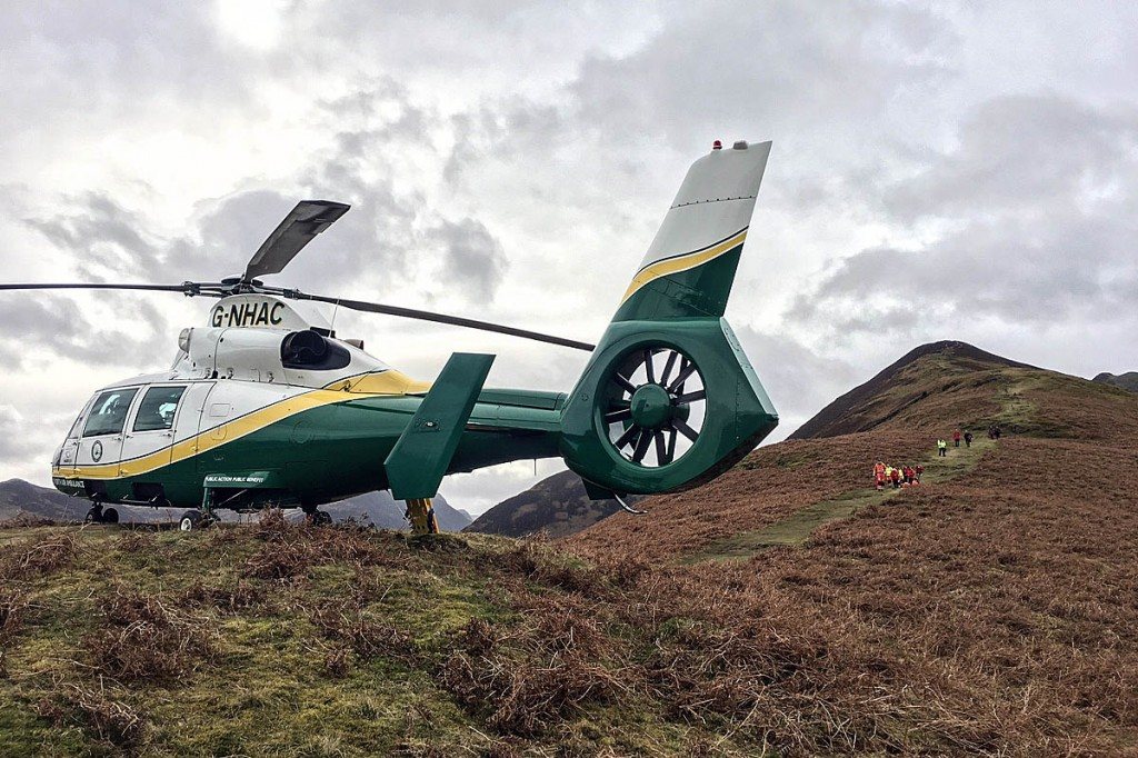 The Great North Air Ambulance at the scene on Barrow. Photo: GNAAS