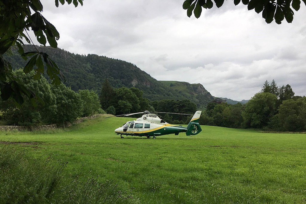 The air ambulance landed in the valley nearby. Photo: GNAAS