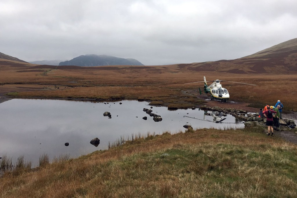 The air ambulance at the scene at Burnmoor Tarn. Photo: GNAAS