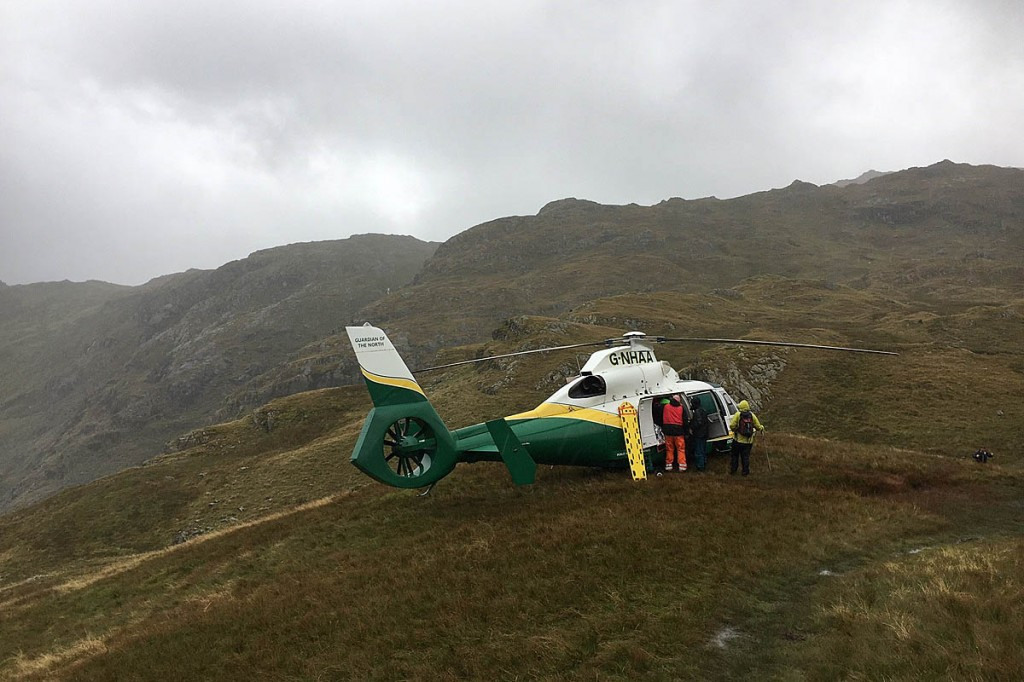 The air ambulance at the rescue scene. Photo: GNAAS