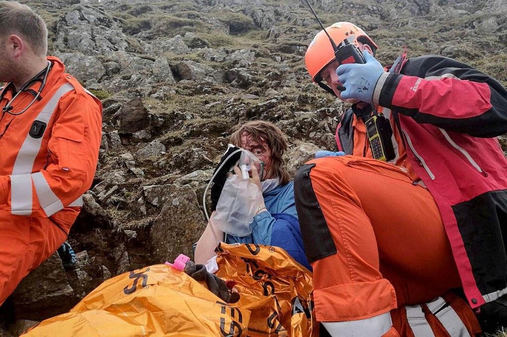 The Great North Air Ambulance crew with Ms May after her Striding Edge fall. Photo: GNAAS
