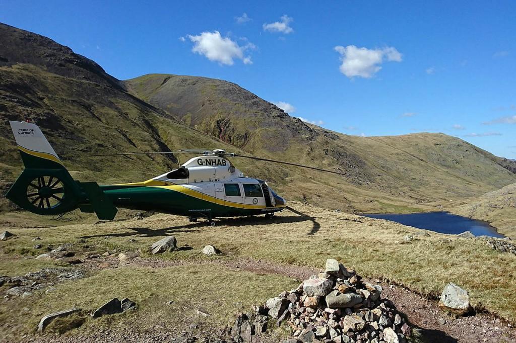 The Great North Air Ambulance at the scene. Photo: GNAAS