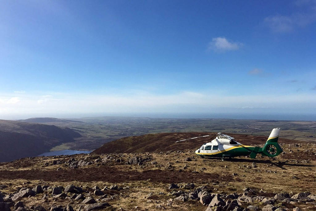 The Great North Air Ambulance at the scene on the summit of Great Borne. Photo: GNAAS