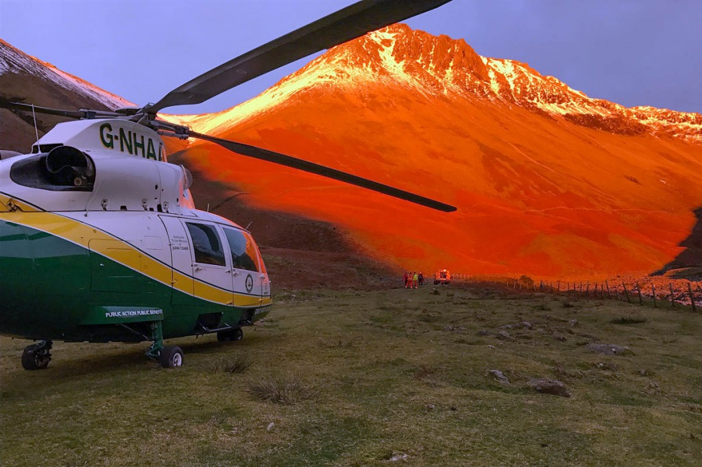The air ambulance at the scene below Great Gable. Photo: GNAAS