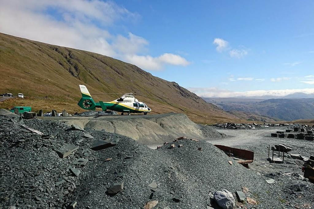 The air ambulance landed at Honister Slate Mine. Photo: GNAAS