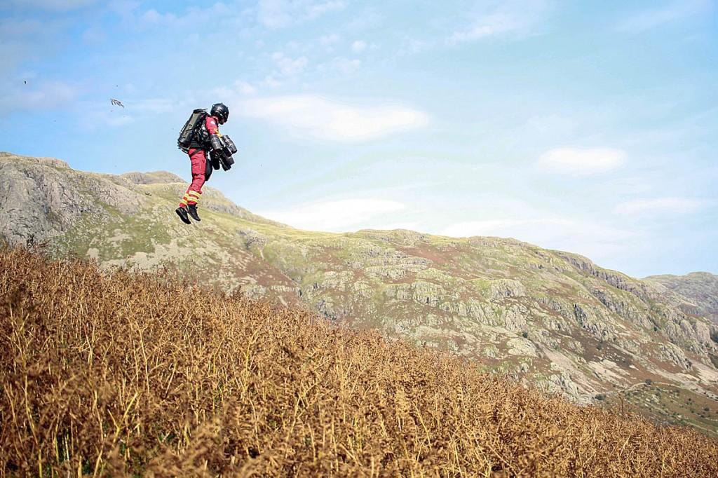 Richard Browning in flight above Langdale. Photo: GNAAS