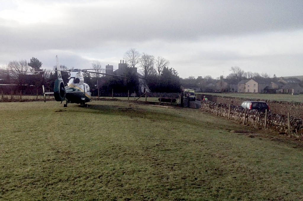 The air ambulance at the scene in Kirkby Stephen. Photo: GNAAS