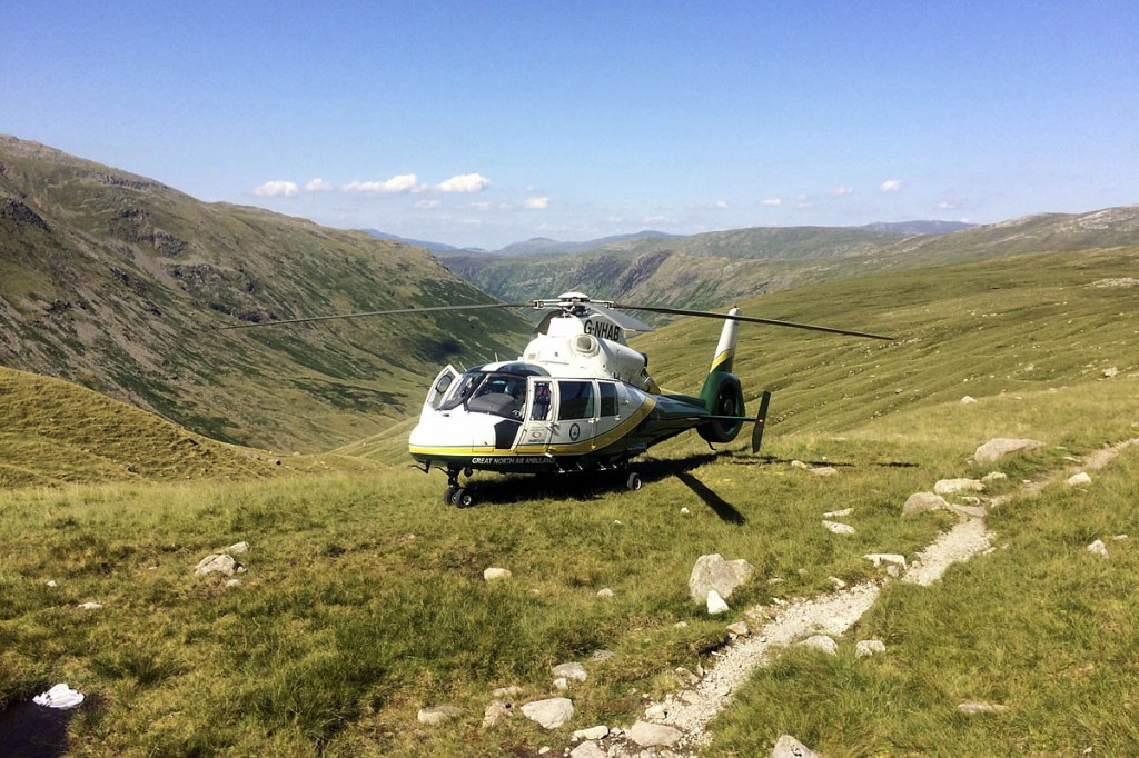 The air ambulance at the site near Angle Tarn. Photo: GNAAS