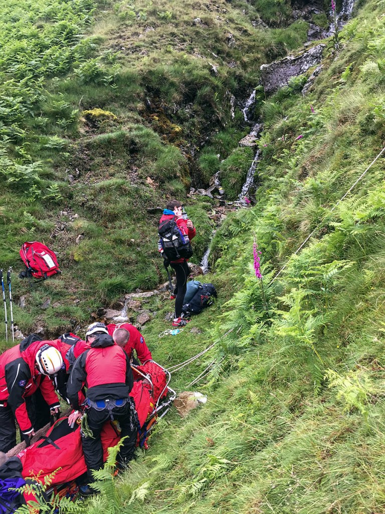 Rescuers at the scene of the incident in the gill on Angletarn Pikes. Photo: GNAAS