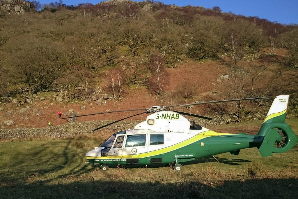 The Great North Air Ambulance at the scene. Photo: GNAAS