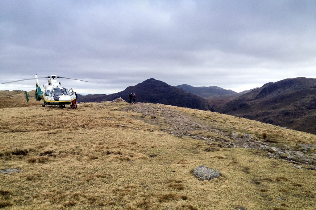 The Great North Air Ambulance at the scene on Crinkle Crags. Photo: GNAAS