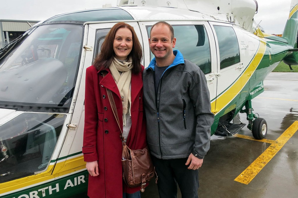 Mr Tighe's fiancée Karin Delday joined him at the Langwathby base. Photo: GNAAS