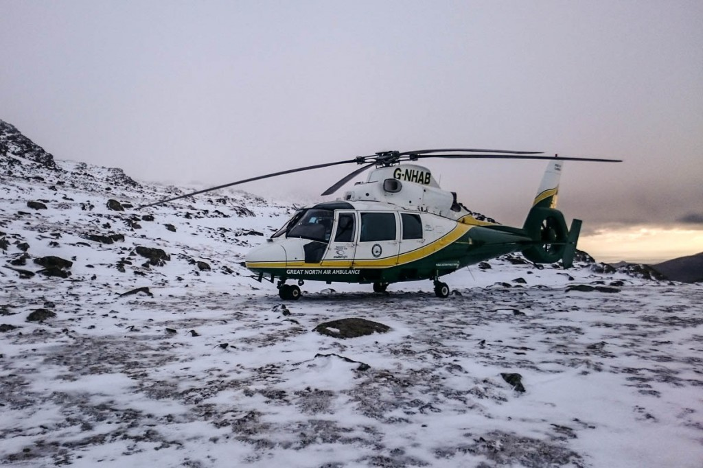 The Great North Air Ambulance on the mountain during the Bow Fell rescue. Photo: GNAAS
