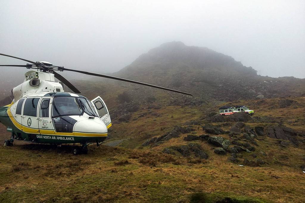 The Great North Air Ambulance and rescue team vehicles at the site on the Old Man of Coniston. Photo: GNAAS