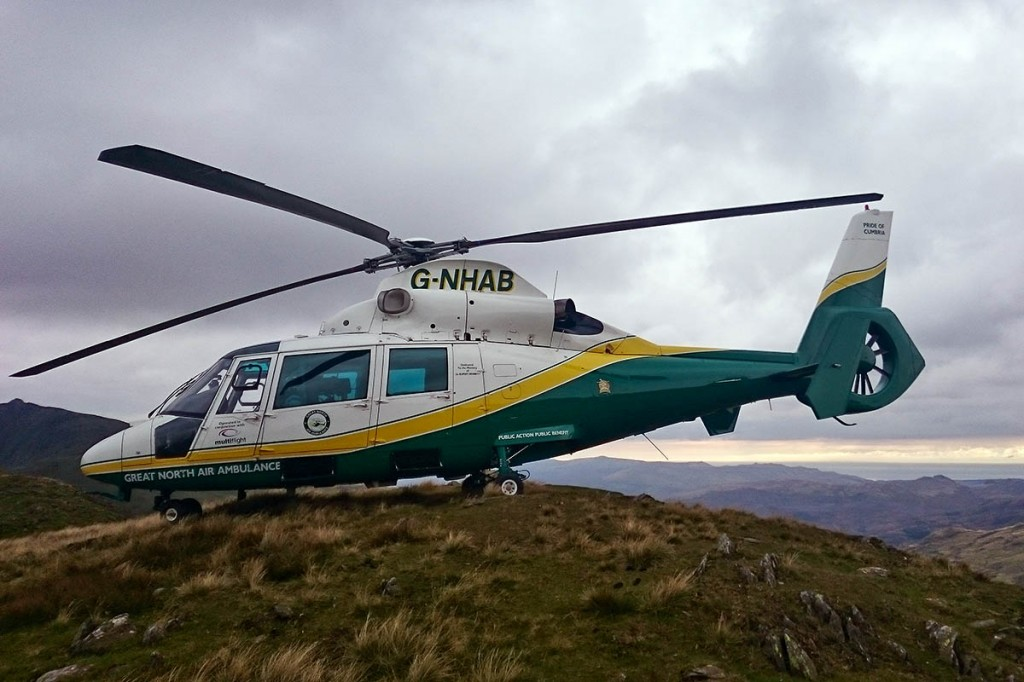 The Great North Air Ambulance at the scene on the Old Man of Coniston. Photo: GNAAS