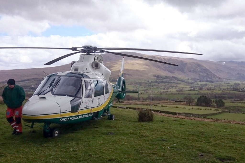The air ambulance at the site of the incident. Photo: GNAAS
