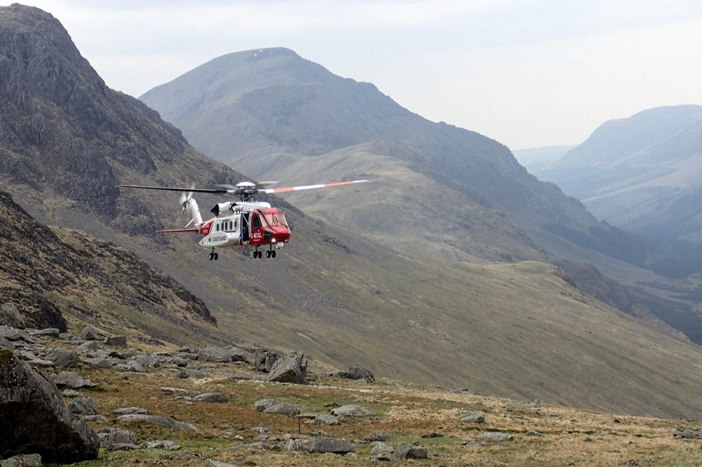 The Coastguard helicopter at the scene. Photo: Cockermouth MRT