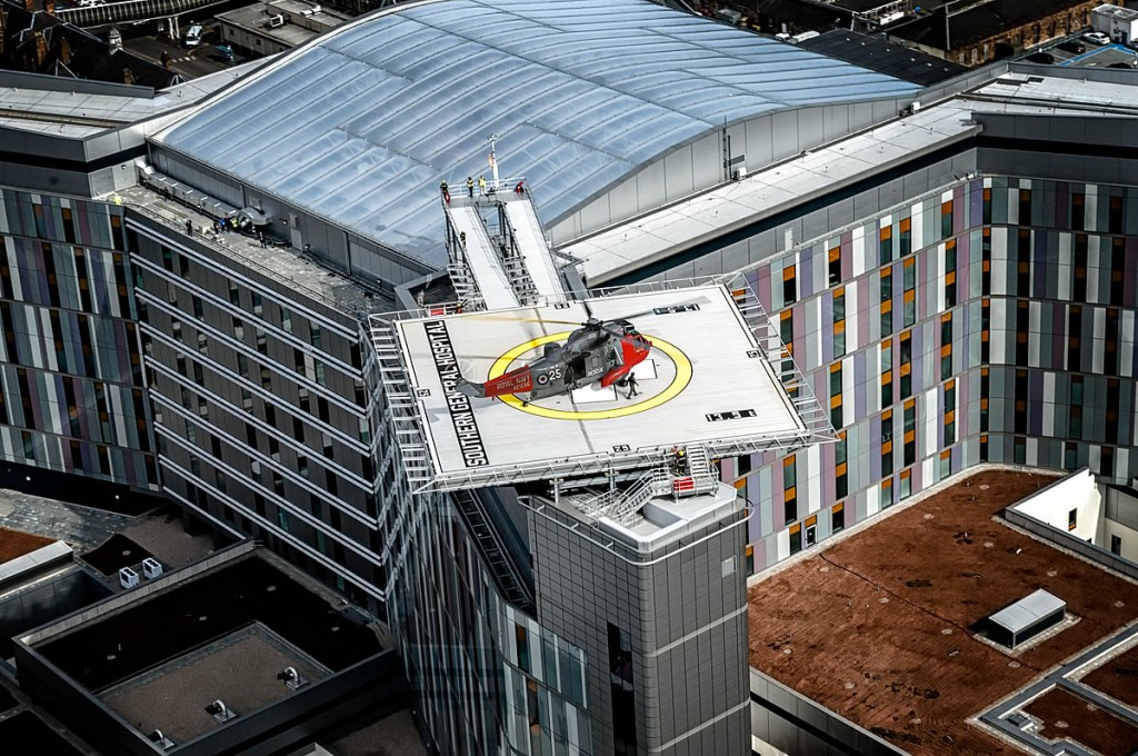 The helipad is perched high on the new hospital. Photo: Royal Navy